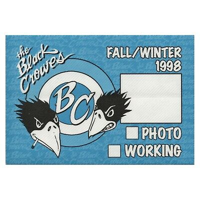 Black Crowes Authentic 1998 Fall Winter Tour satin cloth Backstage Pass sticky
