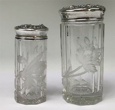 Two Victorian Paneled, Engraved Glass Shakers w/ Repousse Sterling Silver Lids