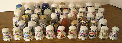 LOT OF FIFTY MIXED THIMBLES CERAMIC, WOOD and METAL