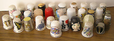 LOT OF THIRTY FOUR MIXED THIMBLES CERAMIC, STONE and METAL