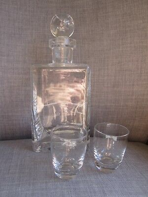 Clear Glass Decanter Carafe Stopper Glasses Mid Century Modern Scotch Whisky