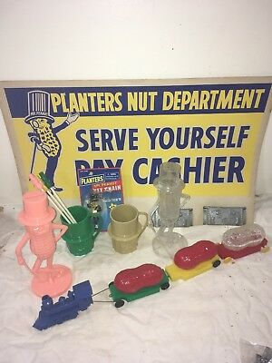 Lot 10+ Vintage Mr Peanut Planters Collectibles Train Clear Bank