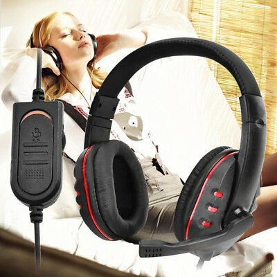 KQ_ Universal 3.5mm Wired Gaming Stereo Headset MIC for WII PS4 XBOX One Eager