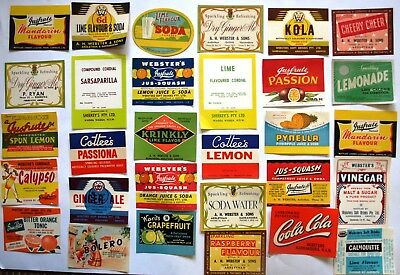 30 Vintage Australian WEBSTERS Soft Drink Labels Advert Advertising Ad Griffith