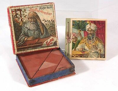 1880s RICHTER ANCHOR BLOCKS BOXED POCKET PUZZLE COMPLETE W/ SOLUTION BOOKLET #2