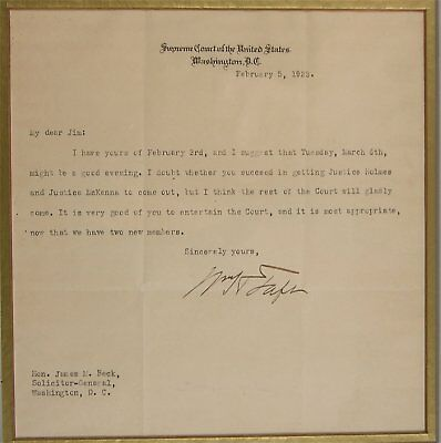 1923 President William Howard Taft Typed Letter Signed As Supreme Court Judge
