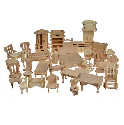 Wooden Doll House Furnitures Puzzle Scale Miniature Models DIY AccessoriesSet SW