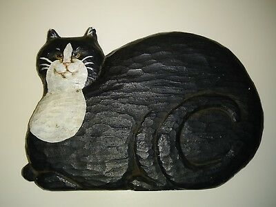 KITTY CAT KITTEN Folk Art Carved Wood Hand Painted Black and White Wall Plaque