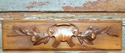 HAND CARVED WOOD PEDIMENT ANTIQUE FRENCH CARVED WOOD COAT OF ARMS CARVING a