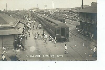 Real photo postcard of the Railway station at Tampico Mexico in very good cond