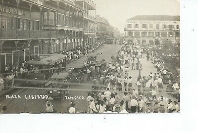 Real photo postcard of the Plaza Libertad Tampico Mexico in very good cond