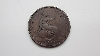 Lovely 1881 Victoria Halfpenny Scarce Date
