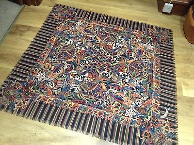 Large vintage wool scarf COLLIER CAMPBELL 1982 beautiful floral