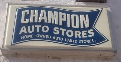 CHAMPION AUTO STORES -  VINTAGE Outdoor Back-Lit Fluorescent Sign - WILL SHIP !!