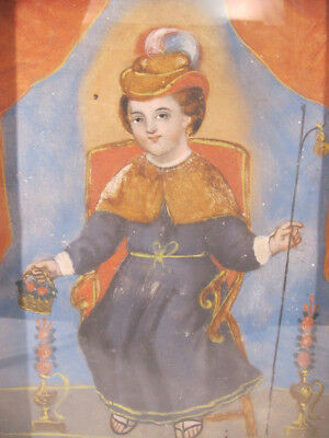 Antique 19th c Spanish Colonial Cuzco Holy Infant of Atocha Oil/Tin Painting yqz