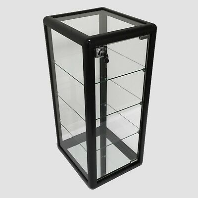 Glass Counter Top Aluminum Frame Locking Jewelry Display Case w/ 3 Shelves Black