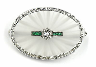 Art Deco Diamond Emerald Frosted Etched Rock Crystal Circle Pin 10K White Gold