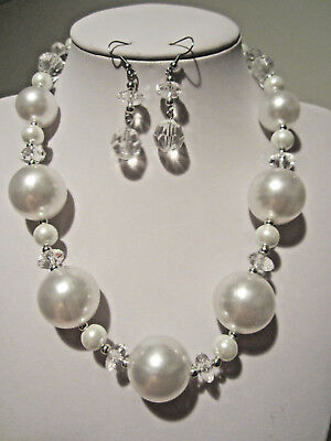 White Faux Pearl with Clear Faceted Lucite Bead gradual Necklace Earring Set