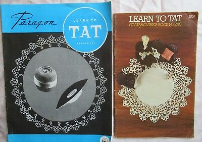 TATTING - 2 vintage booklets LEARN TO TAT Paragon & Coats Instructions &Patterns