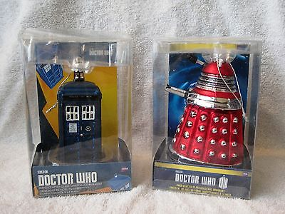 Brand-New - Set Of 2 - Dr. Who Ornaments - Hand-Crafted Glass Ornaments - New!