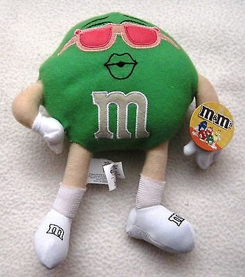 "New Nwt 2010 M&m Candy 12"" Green Plush Girl Doll With Pink Sunglasses With Tags"