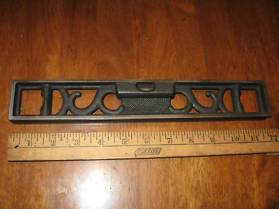 "Nice Antique Athol Mass.12"" Cast Iron Fancy Grooved Level,Vintage Carpenter Tool"