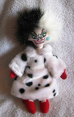 "Beautiful - 9"" Plush - Disney Villain - Cruella Deville - 101 Dalmations - Nice!"