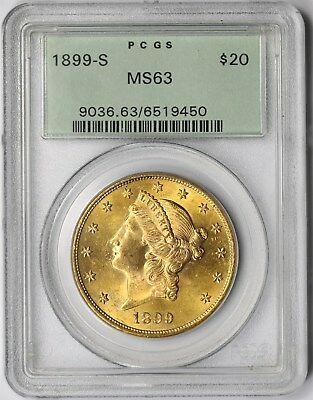 1899-S $20 PCGS/Old Green Holder OGH MS 63 Liberty Head Gold Double Eagle