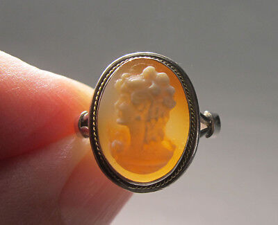 Estate! Antique 19th c Victorian 800 Silver Carved Shell Cameo Ladies Ring  yqz