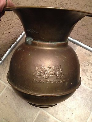 Vintage Brass Chewing Tobacco SPITOON Union Pacific RR Railroad Weighted