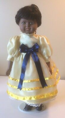 Black Porcelain Doll Home Decor Collectibles 16 Inches Tall Yellow / Navy Outfit
