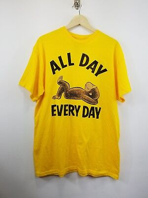 Curious George T Shirt Size L All Day Everyday Yellow Monkey NWOT