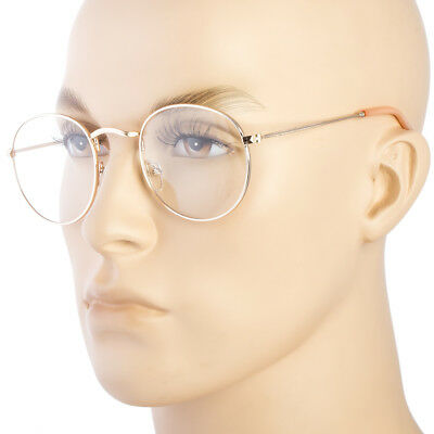 Small Round Frame Clear Lens glasses GOLD metal circle lennon hippy retro b