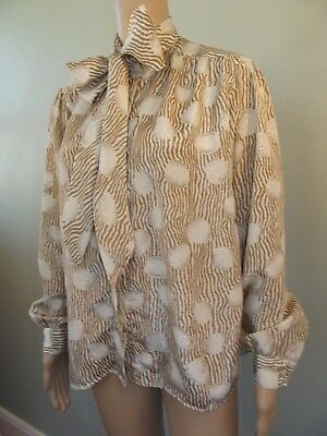 Vtg~1980s~ALFRED DUNNER~Geometric Polyester Secretary Blouse w/ Pussy Bow~10