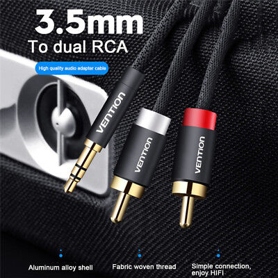 1 To2 3.5mm Male Plug to Dual 2RCA Jack Cable Stereo PC Audio Splitter 3M