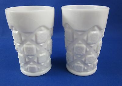 Two (2) Old Quilt Milk Glass Flat Tumblers  by Westmoreland
