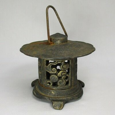 H989: Japanese iron ware hanging lantern with good open wok and atmosphere