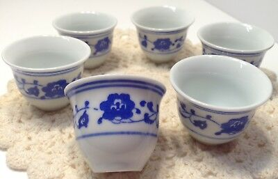 Set Of 6 White And Blue Chinese Sauce Bowls Flower Pattern