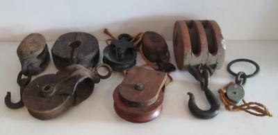 Lot of 8x Vintage Nautical Wooden Farm Block & Cast Iron Tackle Pulleys w/ Hooks