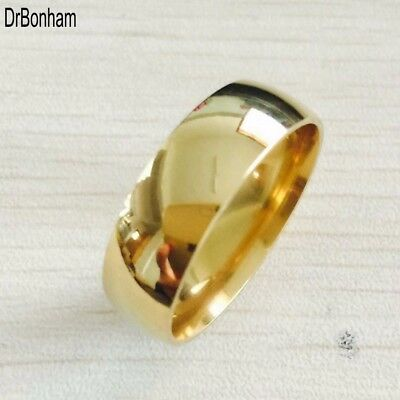 High Polish Wide Men Wedding Gold Ring Real 22K Gold Filled