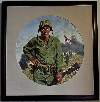 Robert Tanenbaum Original John Wayne Iwo Jima Art Work, Franklin Mint Plate