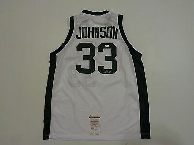 MAGIC JOHNSON autographed signed Spartans white college style Jersey JSA witness