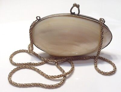 Vintage Shell Coin Purse Silver Metal Frame