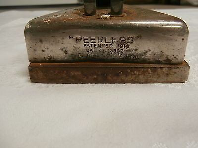 """Antique Electric Iron """"PEERLESS"""" PATENTED 1916 CAT No 13302  5 AMPS 115 VOLTS"""