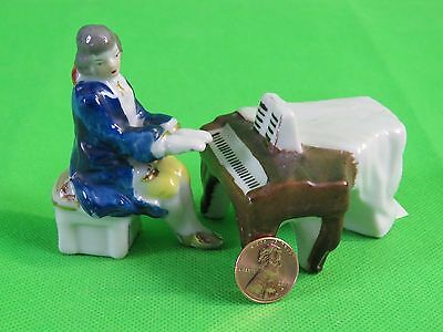Pair Occupied Japan Victorian Colonial Style Grand Piano & Gentleman Musician