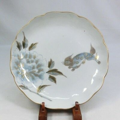 A131: Japanese OLD IMARI porcelain plate with popular foo dog painting.
