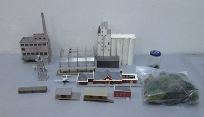 N Scale Assembled Buildings & Scenic Items (10)
