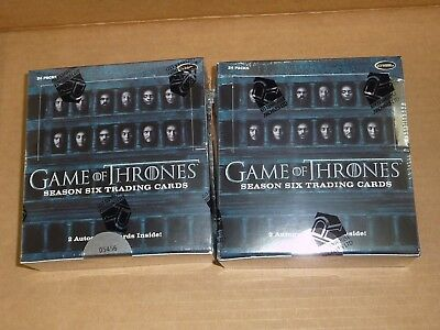 Rittenhouse GAME OF THRONES SEASON 6 SIX FACTORY SEALED HOBBY BOX LOT OF 2 BOXES