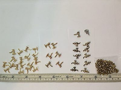 Vintage Miniature Brass Doll House Faucets LOT of 35 Faucets + Approx 80 Drains