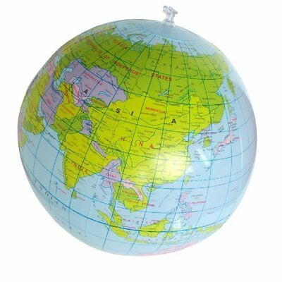 Inflatable Toy Globe Tellurion Train Geography Map Balloon Water Ball 40cm E1O4